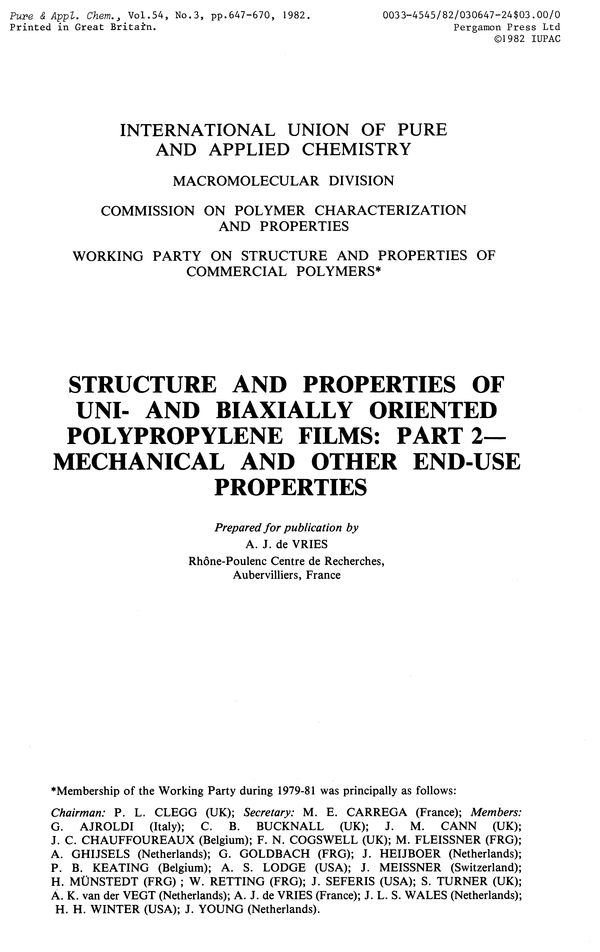 Pure and Applied Chemistry, 1982, Volume 54, No  3, pp  647-670