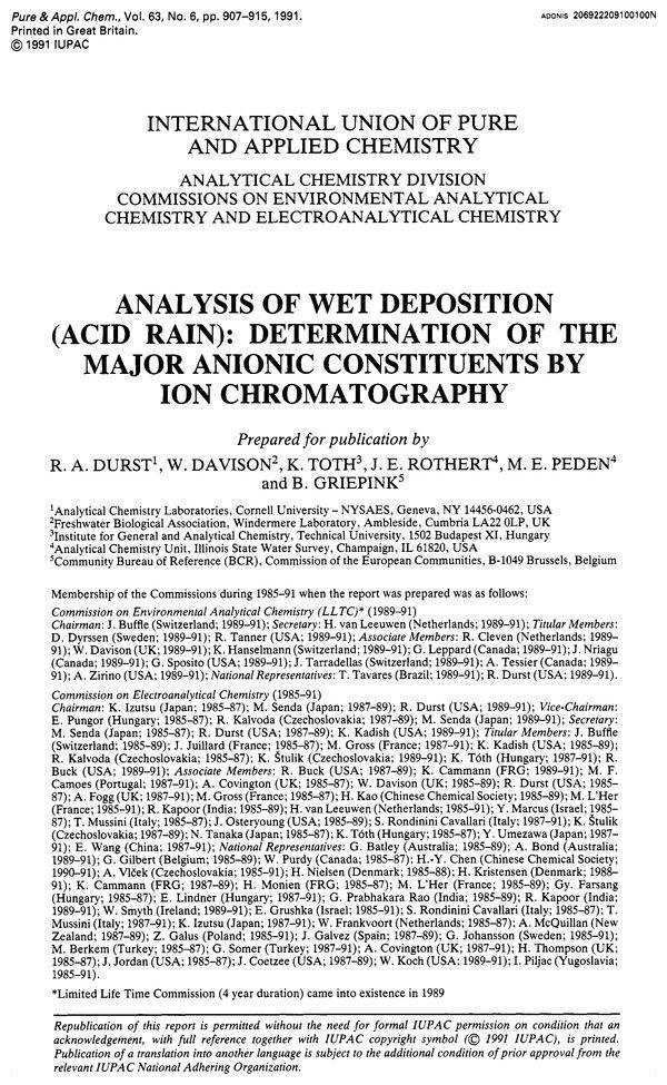 chemistry of acid rain