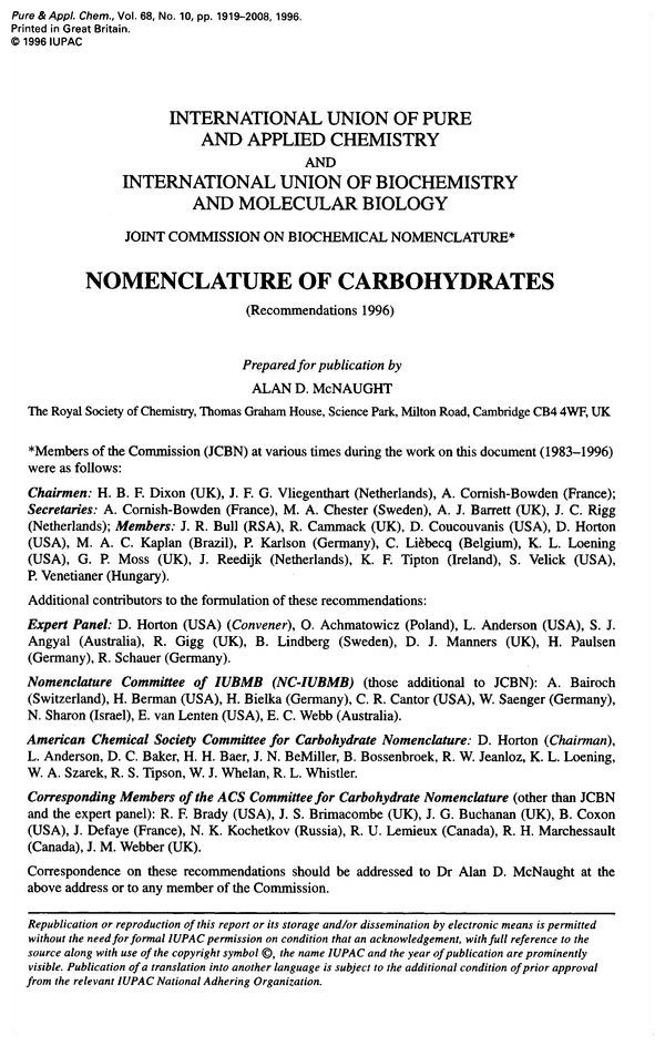 Pure and Applied Chemistry, 1996, Volume 68, No. 10, pp. 1919-2008