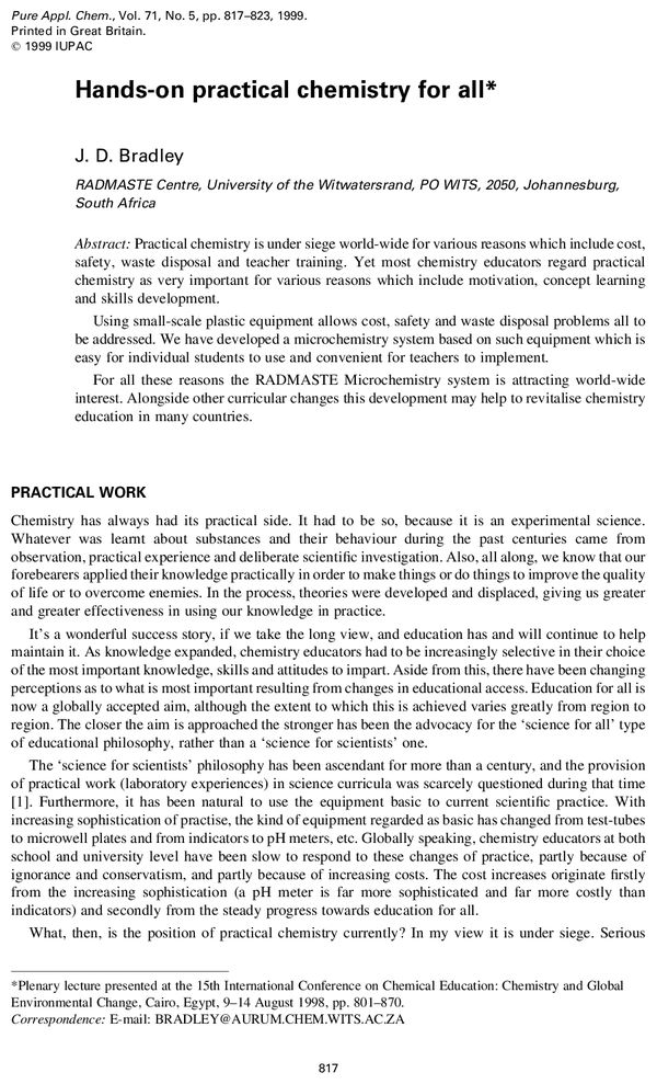 Pure and Applied Chemistry, 1999, Volume 71, No  5, pp  817-823